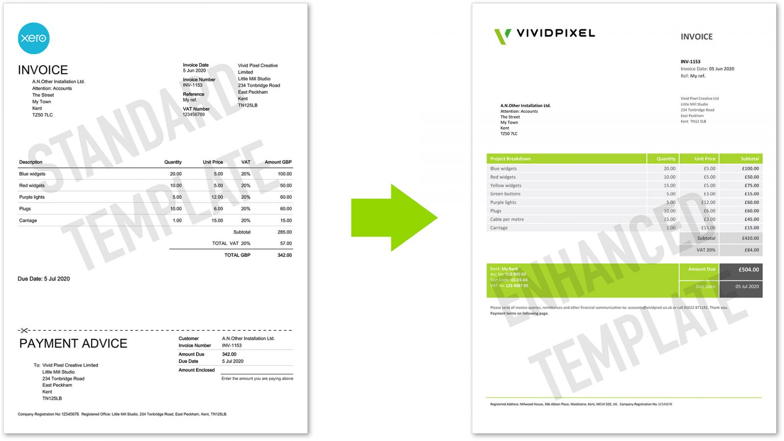 standard Xero template vs enhanced